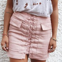 Vintage Pencil Bodycon Skirts 2016 Autumn Lace Up Women Mini SkirtNew Fashion Suede Empire Solid Pockets Club Wear M0676