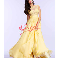 Mac Duggal 10022M Lemon Yellow Lace Open Back Gown Prom 2015