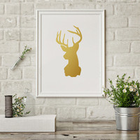 Gold Foil Poster Real Gold Deer Head Print Deer Antlers Wall Art Gold Head of Deer Wall Art Deer Print Wall Art Printable Instant Download