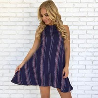 Trust Me Print Cover Up in Navy Blue