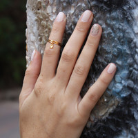 2 Above the Knuckle Rings  gold midi rings with a by galisfly