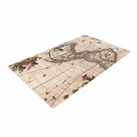 """Bruce Stanfield """"Vintage Map Of The America's """" Brown Green Woven Area Rug"""