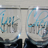 Mother of the Bride and Mother of the Groom wine glasses