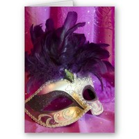 Purple Masquerade Mask Greeting Card from Zazzle.com