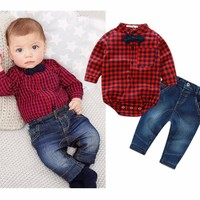 Plaid Rompers Shirts+Jeans Stylish Baby Boy Clothes Set