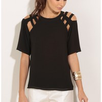 Tops > Caged Top In Black