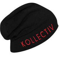 "Kollectiv ""Wordmark"" Knit Slouch Beanie 12"" (Blk/Red)"
