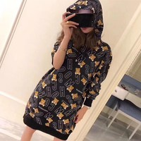 """Moschino"" Women Fashion Letter Bear Cartoon Print Long Sleeve Hoodie Sweater Dress"