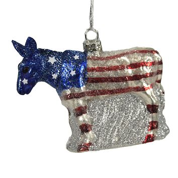 Holiday Ornament Political Party Mascot Republican Democrat Donkey Flag - GO680304 DONKEY