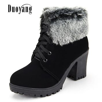 High Quality High Heel Women Fashion Winter Boots 2017 Woman Lace Up Keep Warm Riding Boots