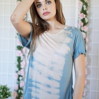 Blue Taupe Tie Dye Top