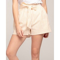 Everly - Striped Paper Bag Shorts in Yellow