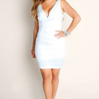 All White American Honey Sleeveless Solid Color Bandage Plunge Neckline Club Dress