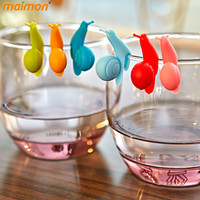 6pcs/set Cute Snails Wine Glass Labels Silicone Tea Mug Cup Markers Set Drinking Label Glasses Marker Creative Party Accessories