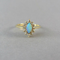 STUNNING marquise rainbow opal and diamond vintage engagement ring, knuckle ring, midi ring delicate antique engagement ring.