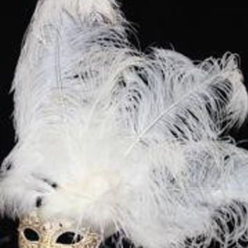 Venetian Masks: White and Gold Mask with Ostrich and Capon Feathers