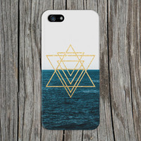 Gold Glitter Geometric Triangles x Ocean Horizon Phone Case for iPhone 6 6 Plus iPhone 5 5s 5c 4 4s Samsung Galaxy s5 s4 & s3 and Note 5 4 3