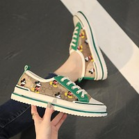 GUCCI x Disney canvas women's retro low-top casual sneakers shoes