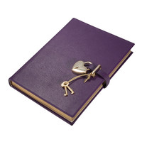 Heart Lock Diary Brights Leather   Purple