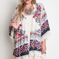 Sweet Floral And Lace Kimono Plus