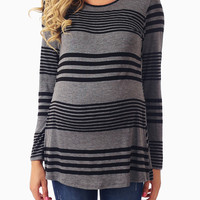 Charcoal Black Striped Colorblock Button Back Maternity Top