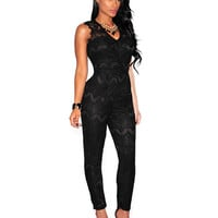 Lace V-neck Cutout Sleeveless High Waist Jumpsuit