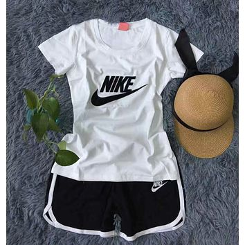 """Nike"" Print Short sleeve Top Shorts Pants Sweatpants Set Two-Piece Sportswear"