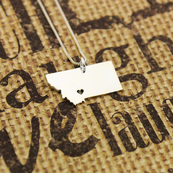 Montana State necklace Montana necklace sterling silver Montana state necklace with heart comes with Box style chain