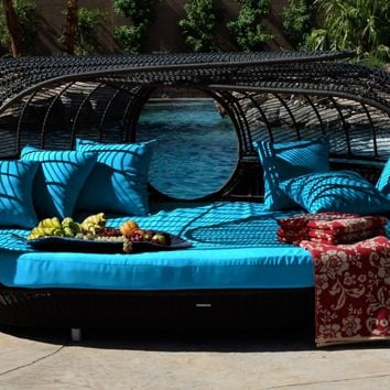 Patio Furniture   Handcrafted Outdoor Wicker Daybed   For Better Homes and Gardens   Rose Garden Seating   Loveseat Blue