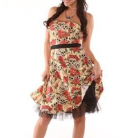 Folter Forever Yours Strapless Party Dress Tattoo Skulls Roses