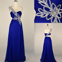 Gorgeous One Shoulder Blue Prom Dress/Graduation Dresses