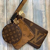 LV Louis Vuitton color-blocking full-print two-piece key case small wallet clutch Bag