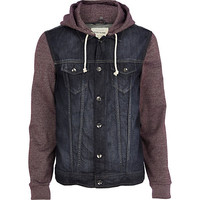 River Island MensDark red jersey sleeve denim jacket