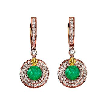 4.40tcw Emerald & Diamonds in 18K Rose Gold Round Dangle Drop Earrings