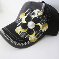 Two Tone Grey and Black Trucker Baseball Cap Hat with Multi Colored Petal Flower and Rhinestone Accent Baseball Trucker Cap Hats Accessories