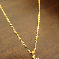 Tiny Cross stud/ rhinestones charm Gold plated Necklace Cute delicate Dainty necklace