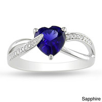 Miadora Sterling Silver Gemstone and Diamond Accent Heart Ring