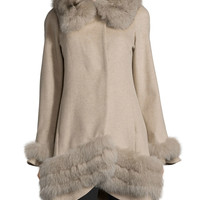 Cashmere Swing Coat with Fur Cuffs & Trim, Size: