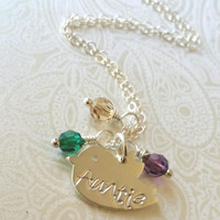 """Auntie Necklace-Thai Silver Chick Charm Hand Stamped with """"Auntie"""" with Birthstones of Choice-Gift for Aunt/Auntie Gift"""