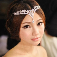 2016 The bride Korean style crown Forehead decoration Classic wedding accessories Bridal Headpiece (Color: White) [8384197959]