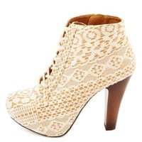 Qupid Lace-Topped Lace-Up Platform Booties by Charlotte Russe - Ivory