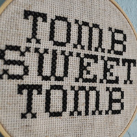 Tomb Sweet Tomb, Haunted Mansion cross stitch, Disney, Decorative Embroidery Hoop Art, Fabric wall hanging, wall decor, Halloween decoration