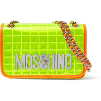 Moschino - Faux leather-trimmed quilted PVC shoulder bag