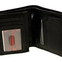 Paul & Taylor Genuine Leather Men's Hipster Wallet With a Snap Pocket Black