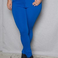 Love Nation Plus-Size Slim Fit High-Rise Dress Pants With Skinny Belt - Royal