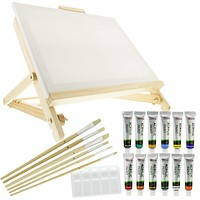 US Art Supply 21-Piece Acrylic Painting Table Easel Set with, 12-Tubes Acrylic Painting