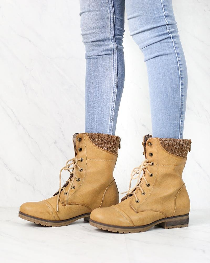 Image of In the Woods Ankle Sweater Cuff Boots in Tan