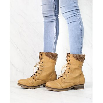 In the Woods Ankle Sweater Cuff Boots in Tan