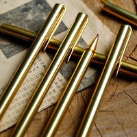 Pencil Retro Brass Gold Pen Pure Metal Pen By Hand Tactical Pen Copper Gift Pen Outdoor Survival EDC Camping Glass Breaker Gear