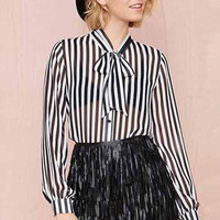 Black&White Vertical Stripe Blouse With Bow